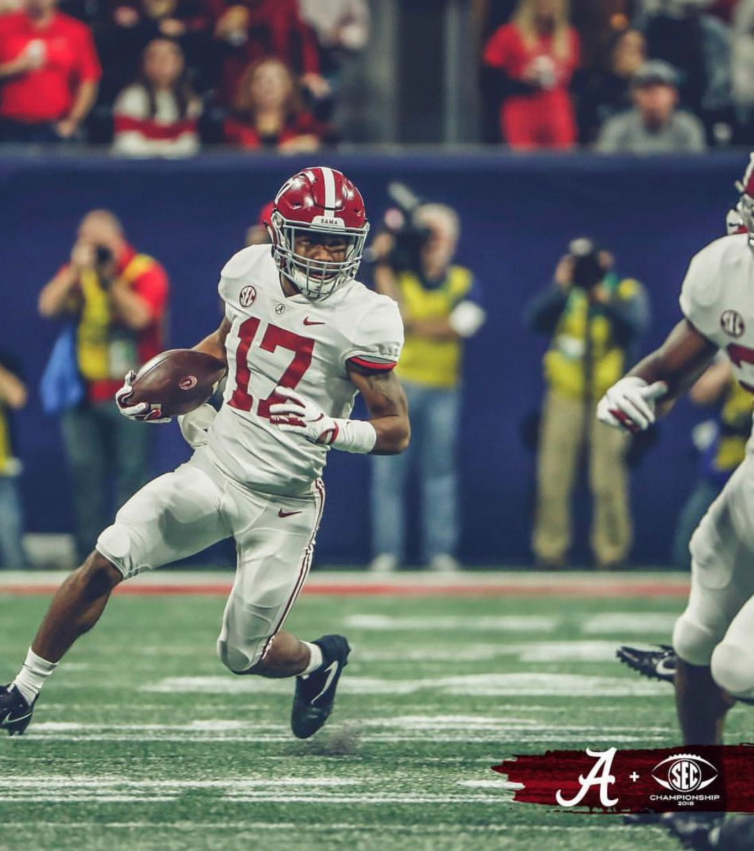 Jaylen Waddle Alabama 35 Georgia 28 In The 2018 Sec Championship Game In Atlanta Alabama Rollti Alabama Football Crimson Tide Football Alabama Crimson Tide