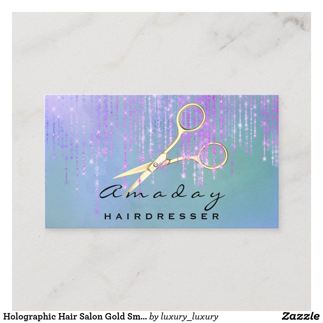 Holographic Hair Salon Gold Smoky Scissors Drips Business