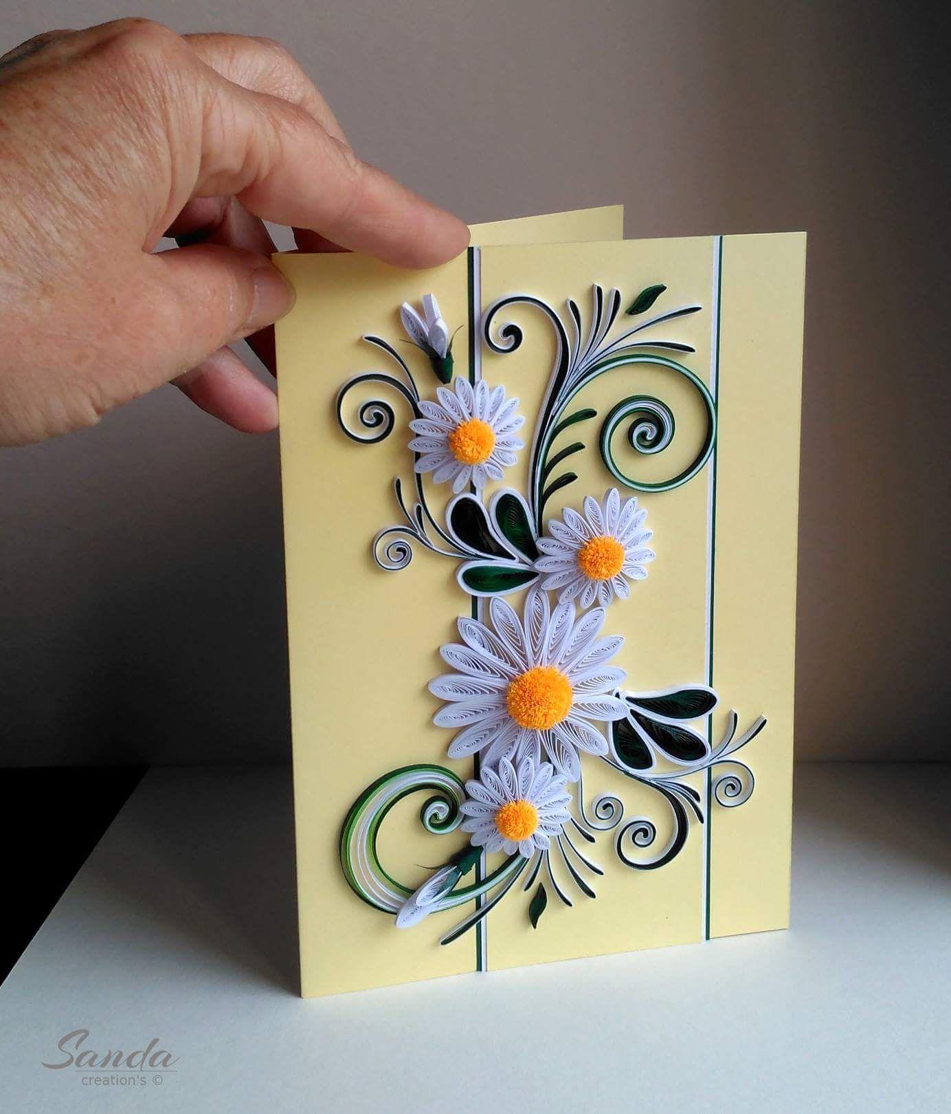 Квиллинг поздравительные открытки цветы, блестяшки