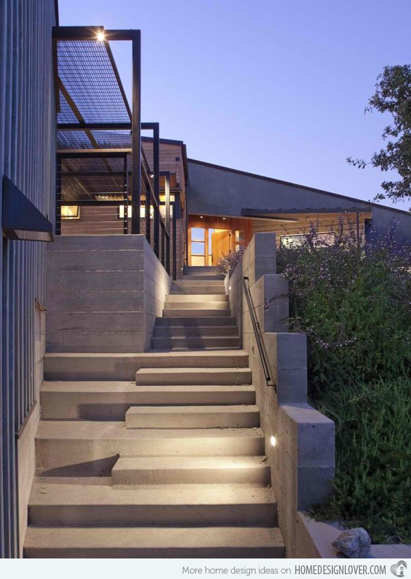 15 Concrete Exterior Staircase Design Home Design Lover | Staircase Outside House Design | Curved | Modern | Cool | Residential | Up Balcony