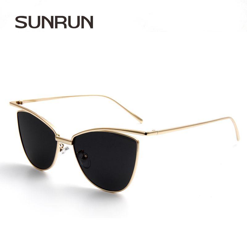 Купить SUNRUN Женщины Солнцезащитные Очки Cat Eye Марка Дизайнер ...