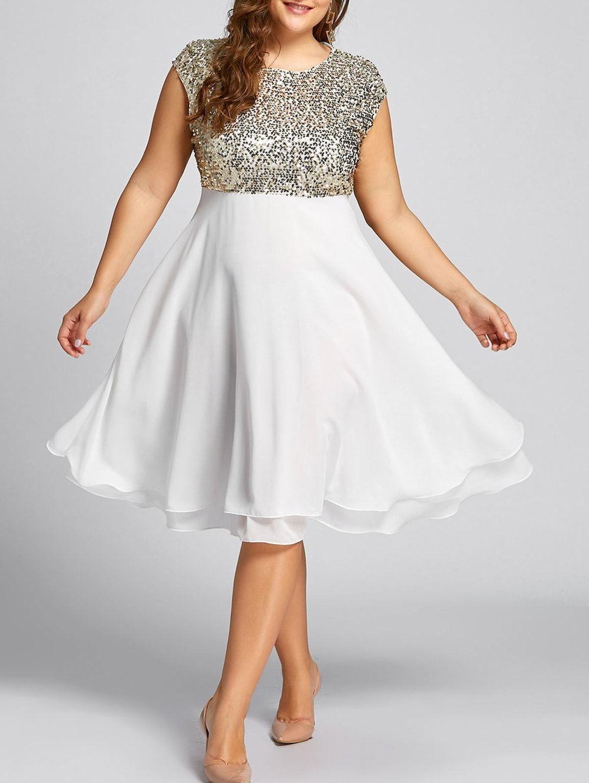 Plus Size Sequin Sparkly Cocktail Dress, GOLDEN, 5X/22---25.14 ...