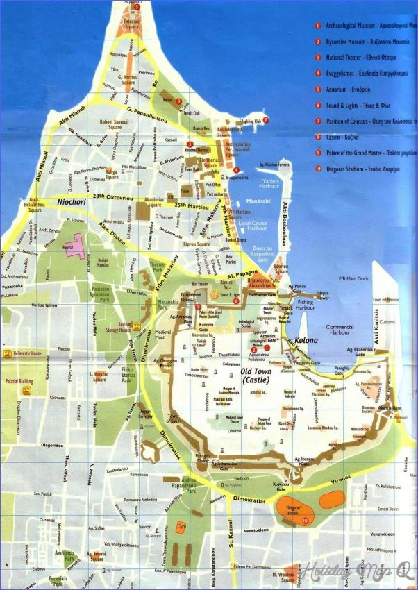 Rhodes Town Map Voyage Bassin