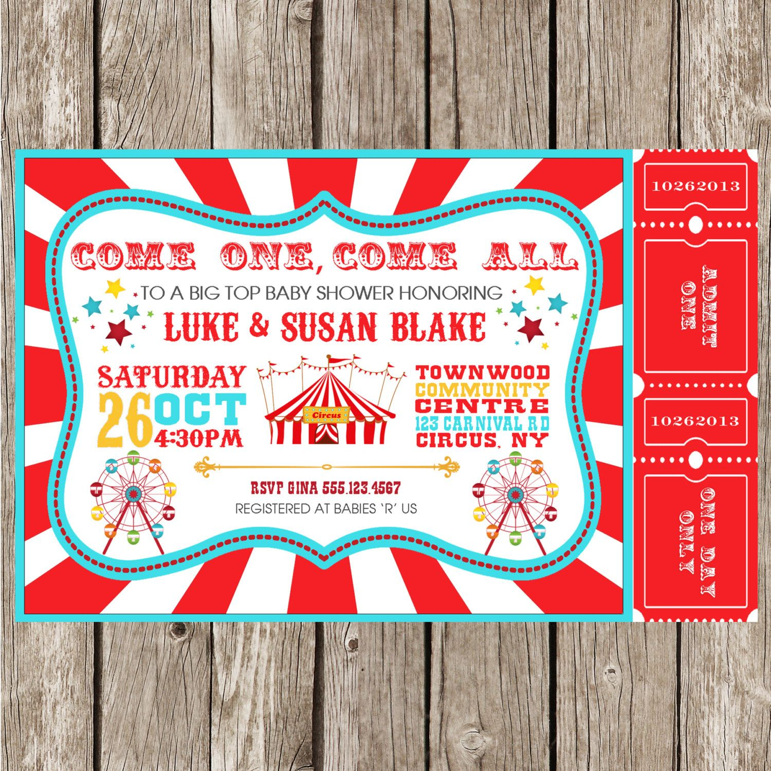Vintage Circus Carnival Invitation - Baby Shower - Birthday Party ...