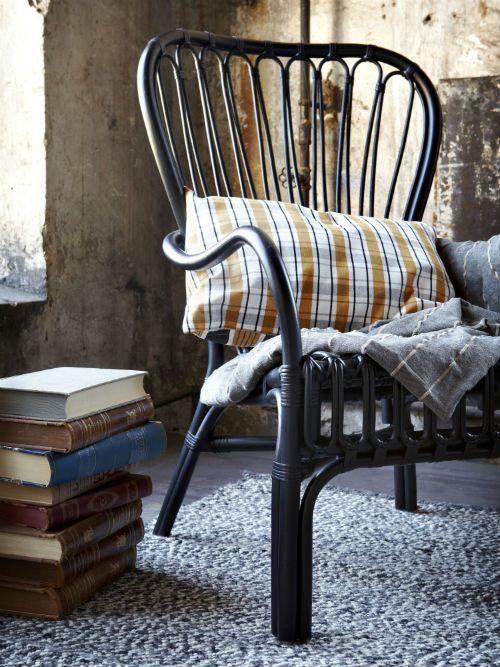 STORSELE Armchair, Black, Rattan