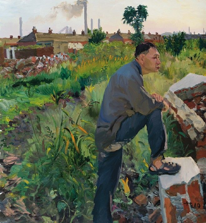 Liu Xiaodong, Han Shengzi Buys Land, 2010, Oil on Canvas, 150 x 140 cm