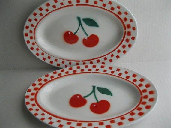 Vintage Pair Cherries Serving Plates by catslyemodernvintage
