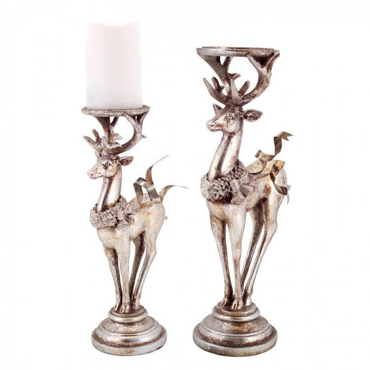 Pillar Candle Holder Set of 2 4.25 Handmade Glass Candle Holder Silver