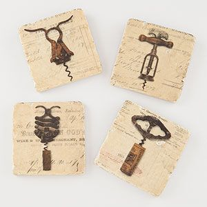 Vintage Corkscrew Coasters Set Of 4 Coasters Map Coasters Bar Gifts