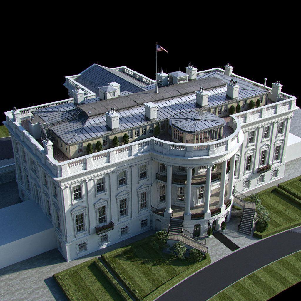 3d model washington white house | White house plans,  Classic house design, House plans mansion