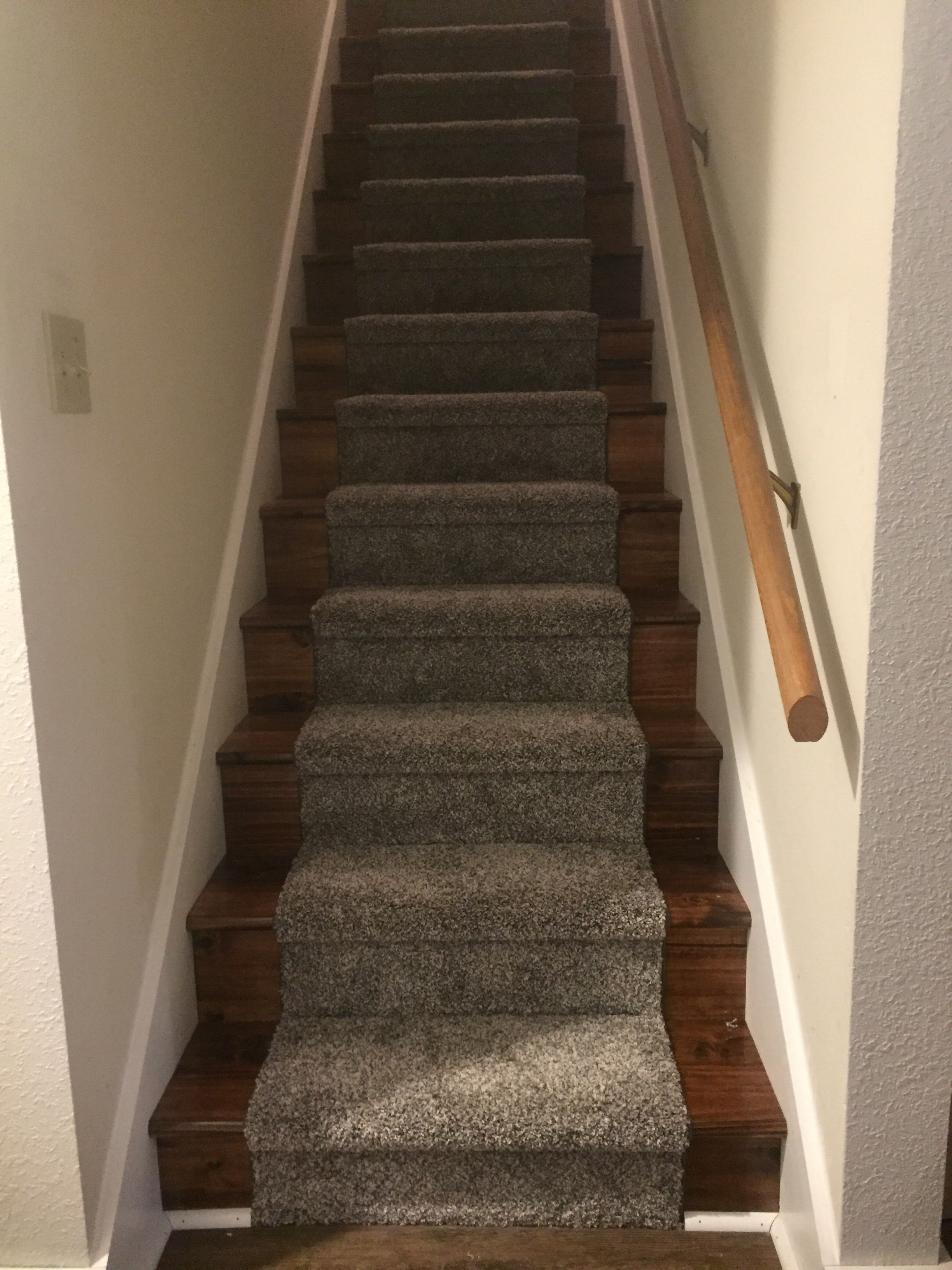Carpeted Stairs With Runner And Stained Steps Stair Runner   Stained Stairs And Risers   Two Tone   Natural   Bead Board   Gray Painted   Finished