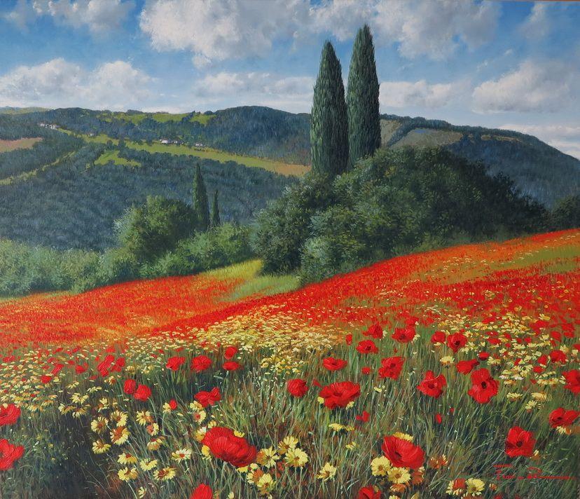 Raffaele Fiore - Papaveri | Paesaggi, Arte del paesaggio, Bellissimi dipinti