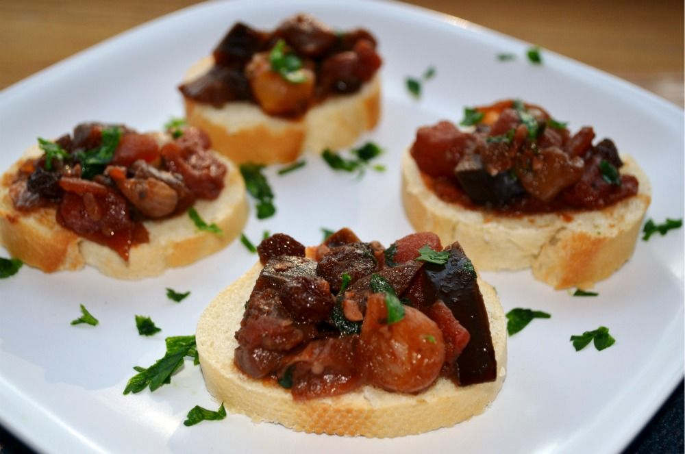 Eggplant and Tomato Relish..use diced onion versus pearl and fresh heirloom tomotaos versus canned