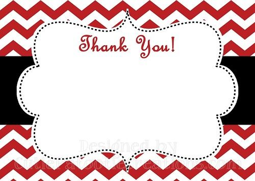 Black White Red Chevron Print Pattern Thank You Note Cards by Cutie - printable thank you cards black and white