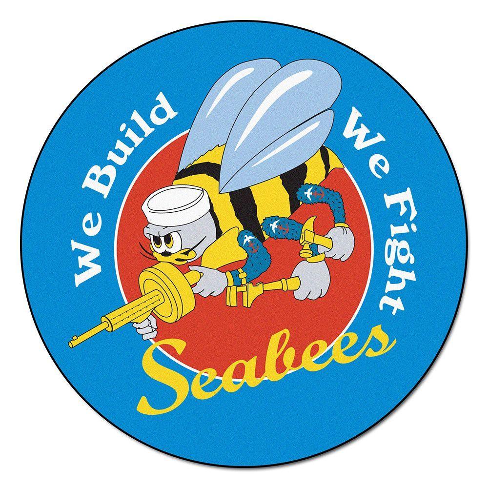Floor mats us - Navy Seabees Ncaa Round Floor Mat 29