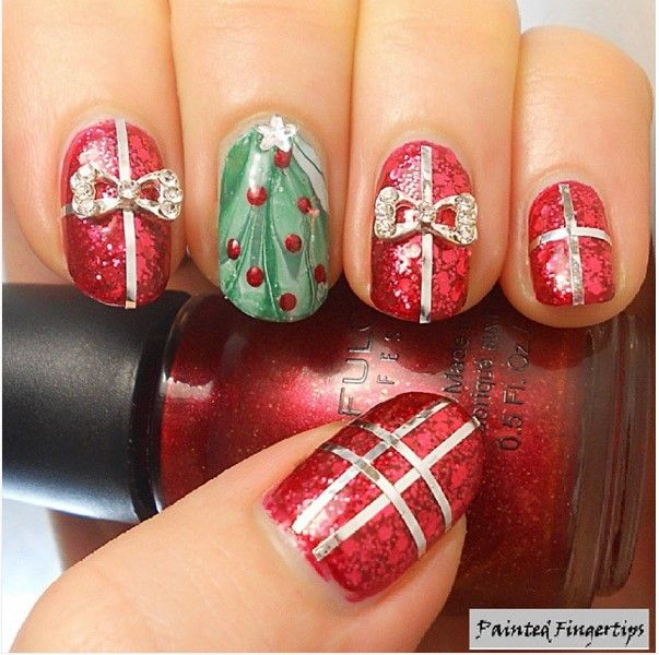 30 totally cute christmas designs for short nails short nail glitter gifts christmas short nail design bmodish prinsesfo Images