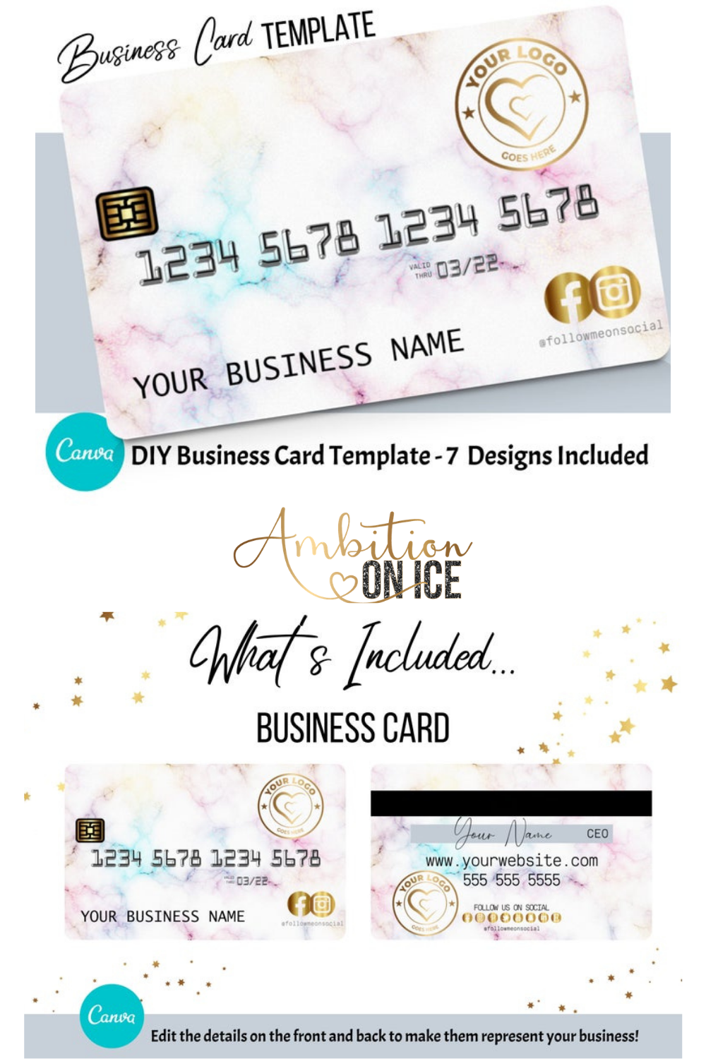Diy Rainbow Marble Credit Card Business Cards Canva Template Business Card Design Appointment Card Loyalty Card Instant Access Business Card Design Business Cards Diy Templates Business Card Template Design