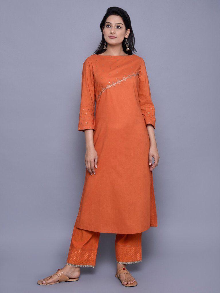 778fa96d36 Orange Cambric Cotton Boat Neck Embroidered Kurta Boat Neck Kurti, Salwar  Kurta, Patiala Suit