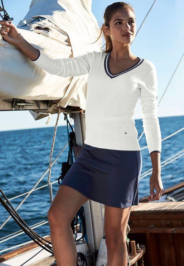 Uta Raasch – V-sweater – white / navy