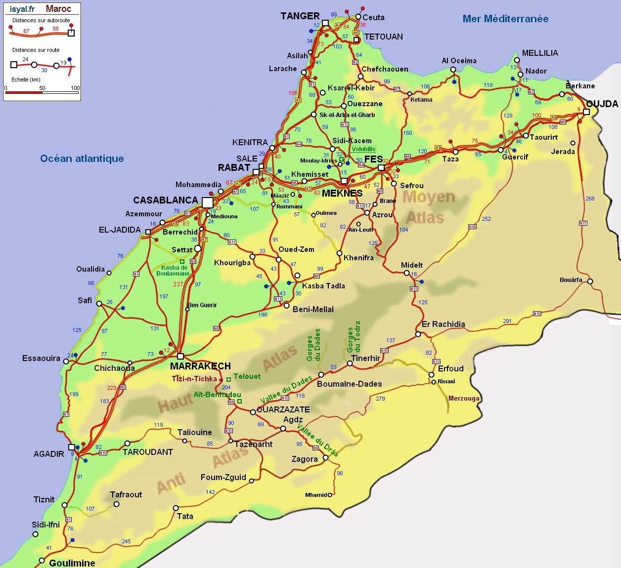 Carte Kabylie Detaillee.Carte Routiere Detaillee Du Maroc Avec Kilometrage 2011