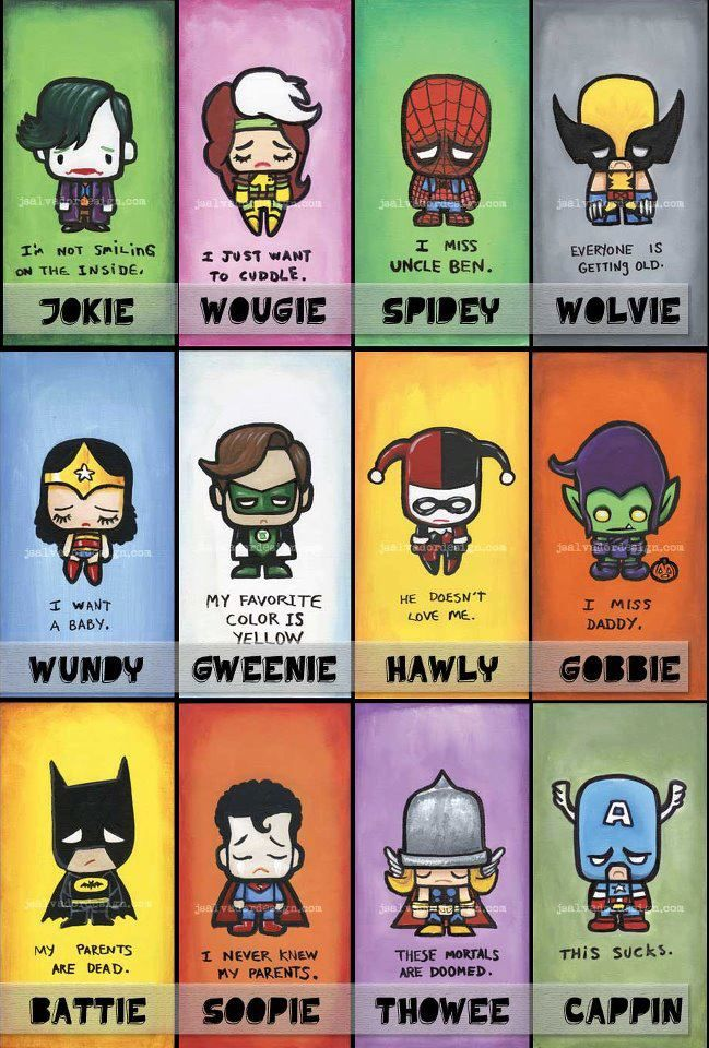 I know it's a mix between marvel and dc but I still like it. So sad and cute