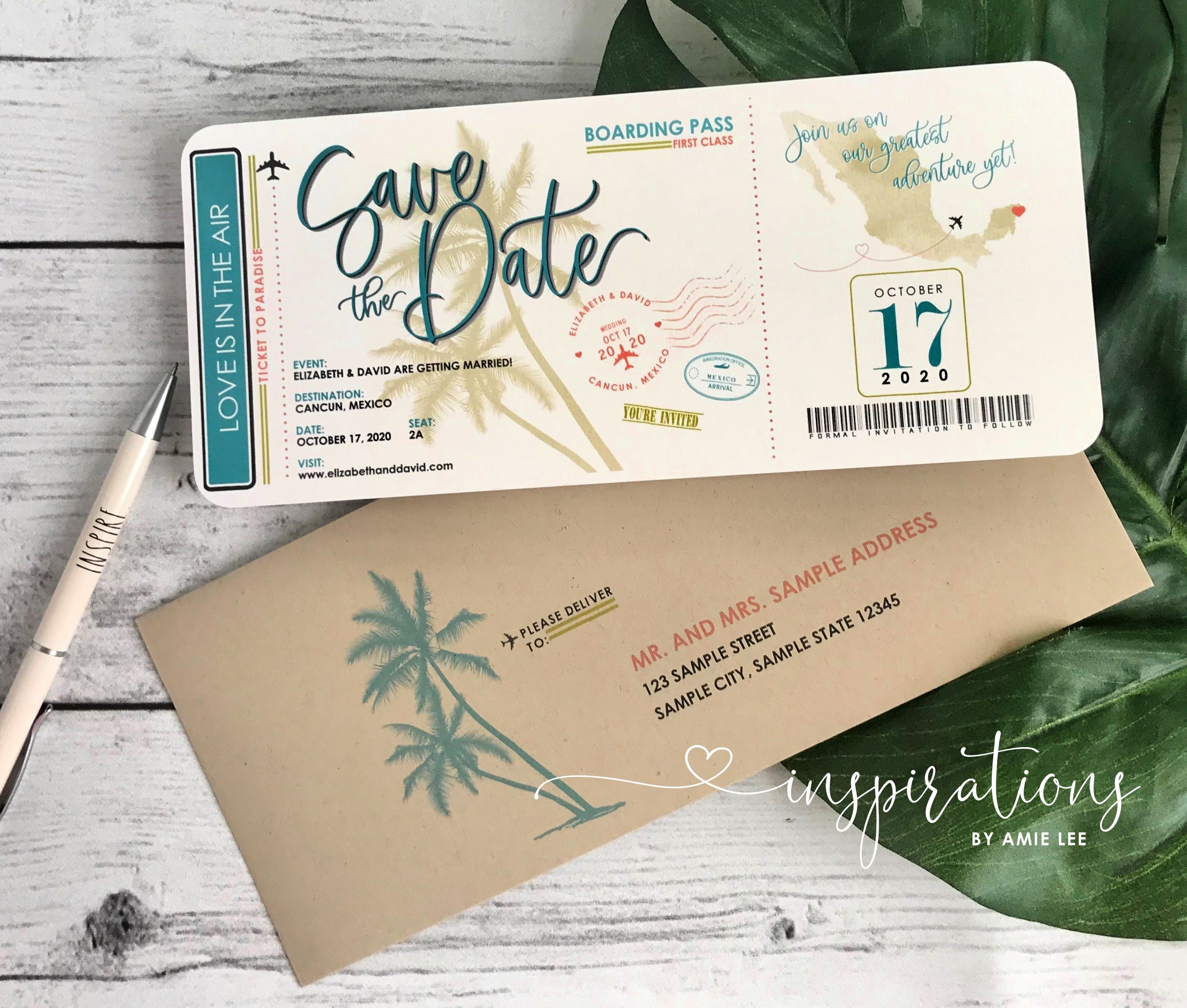 Boarding Pass Save The Dates, Ticket to Paradise, Save The