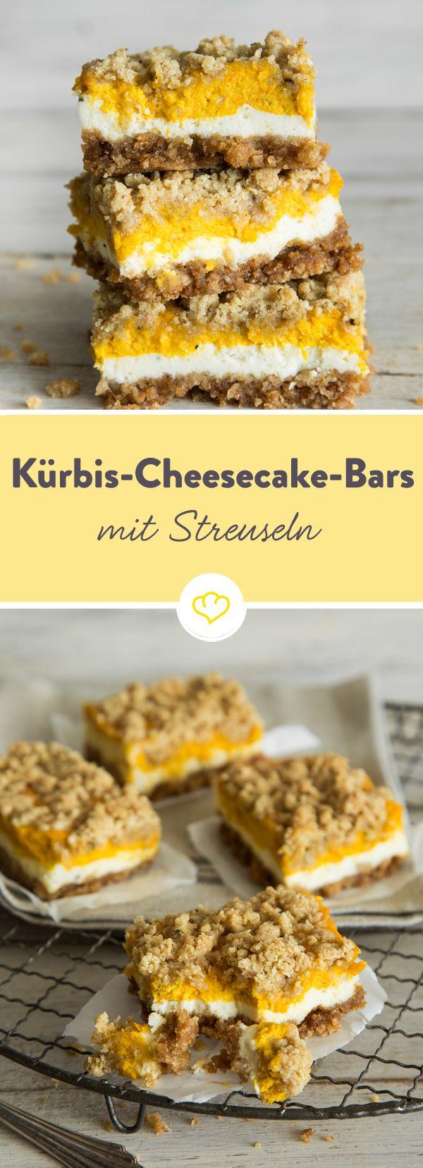 Herbstliche Schnitten: Kürbis-Cheesecake-Bars mit Zimt-Streuseln #cheesecake