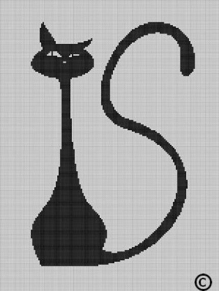 CROCHET PATTERNS CAT SILHOUETTE AFGHAN GRAPH E-MAILED.PDF