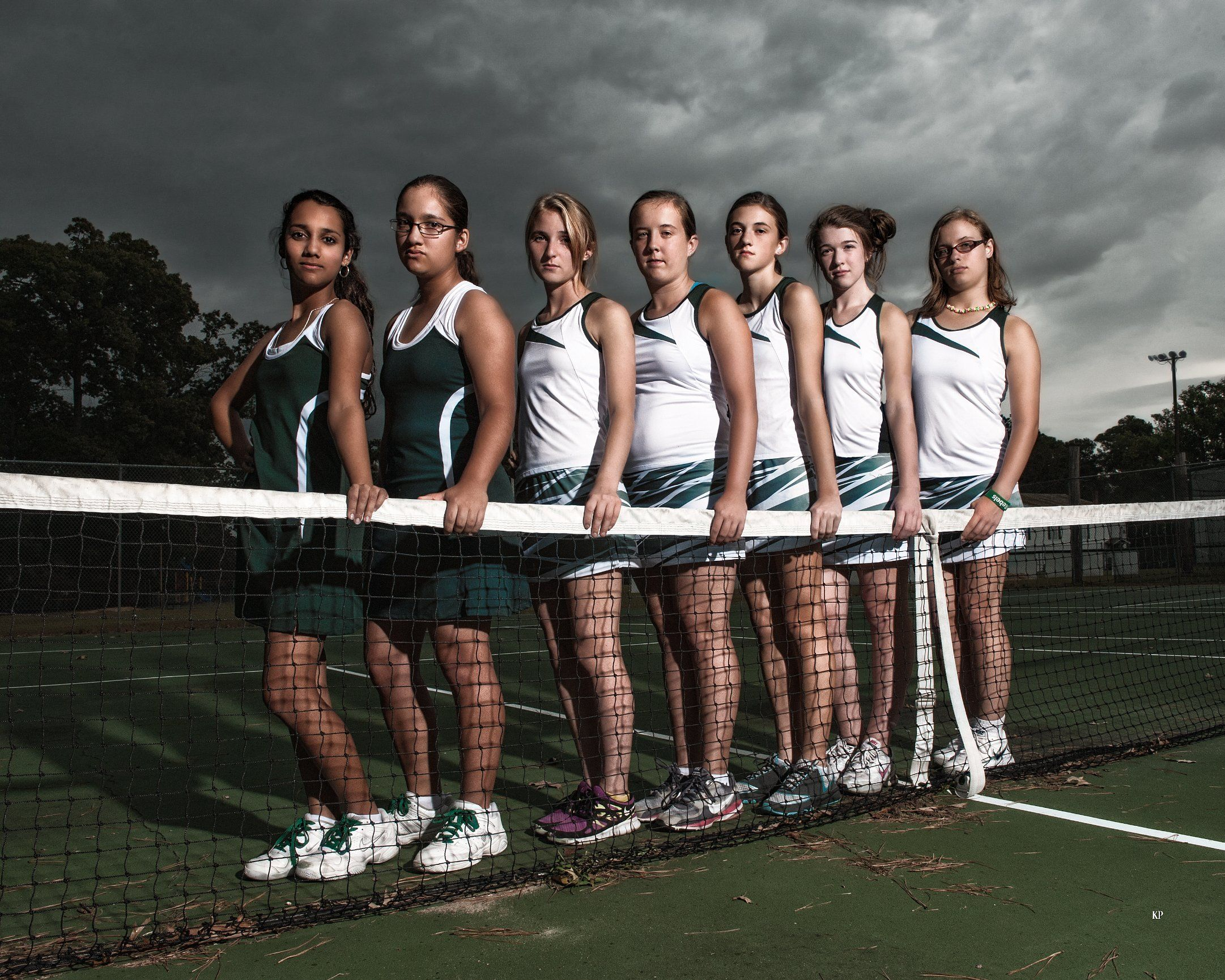 Girls Tennis Team North Duplin High School Net Clouds Sports Portrait Sport Portraits Tennis Team Volleyball Senior Pictures