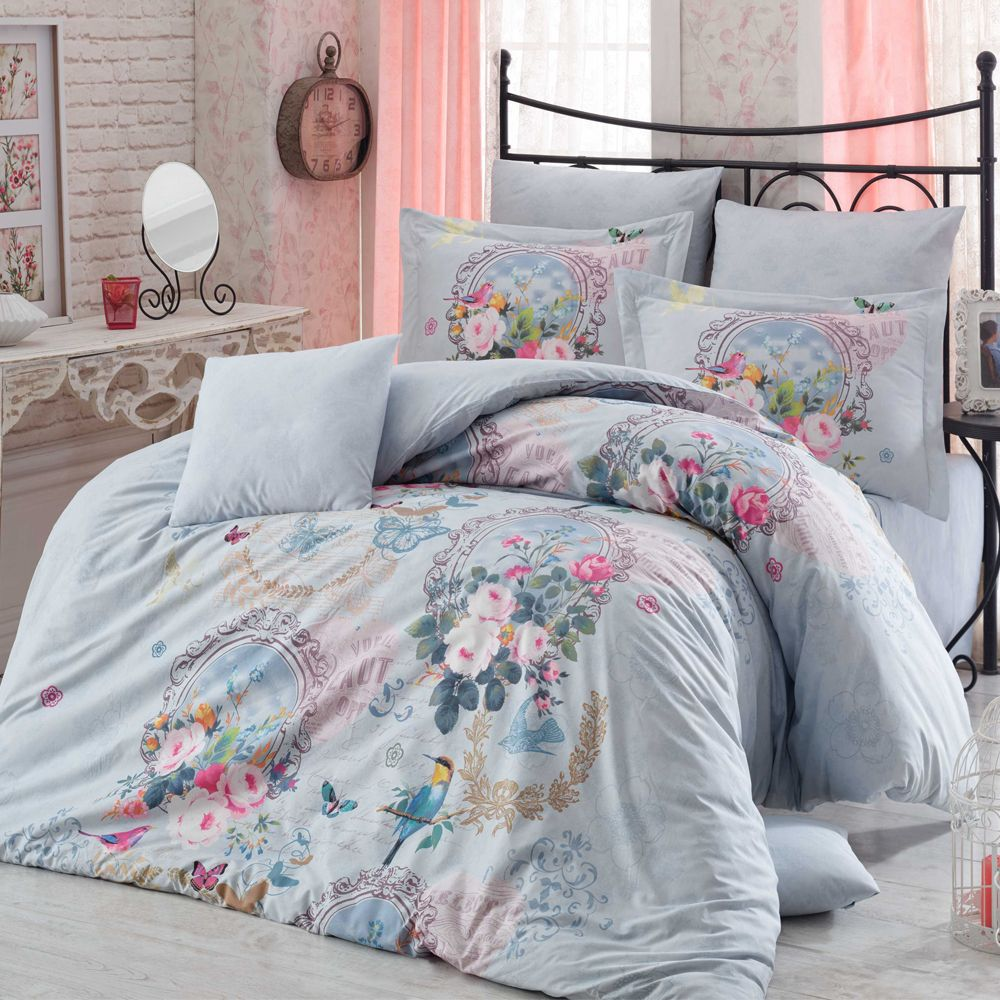 Blue Floral Comforter Set With Birds Flowers Bedding Full Size Comforter Sets Full Size Comforter Guest Room Bed