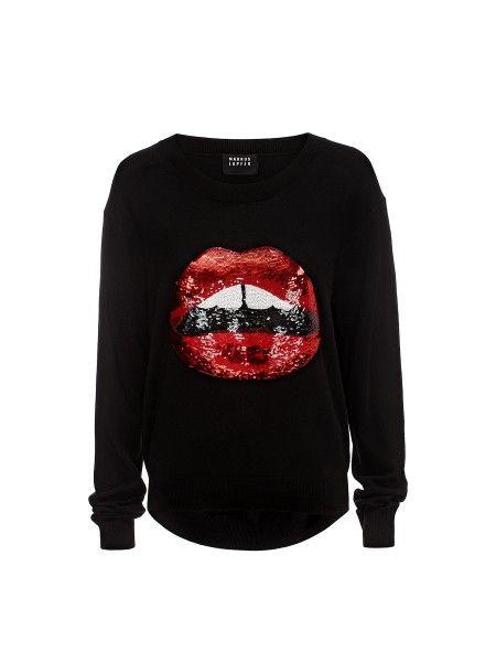 Black Red Sequin Lara Lip Joey Jumper Markus Lupfer Core
