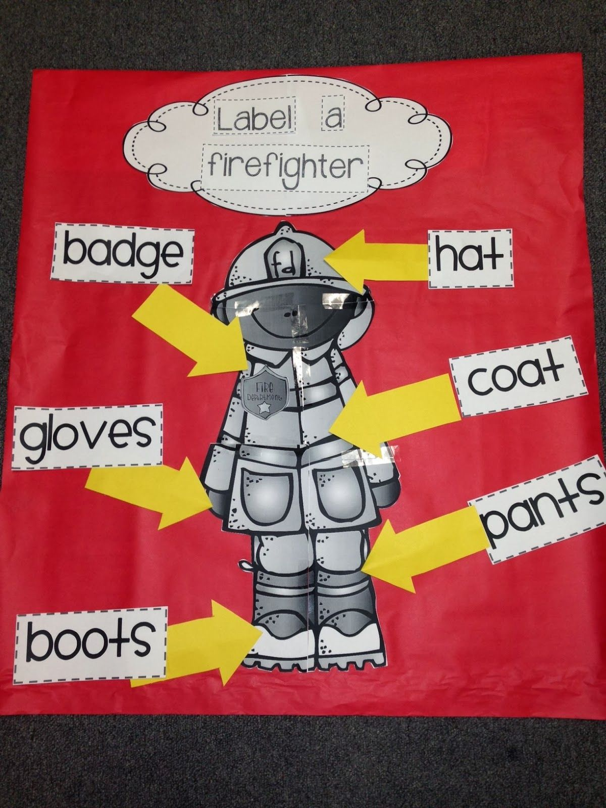 firefighter preschool quot label a firefighter quot activity from chalk talk a 706