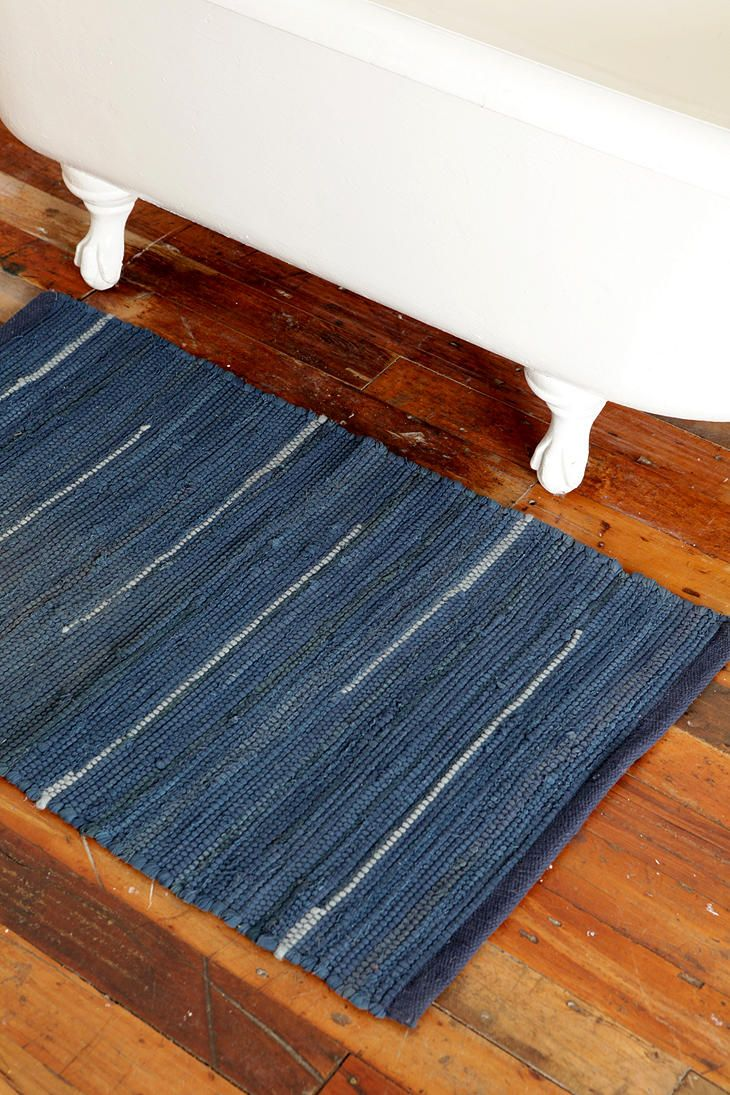 multi-navy rag rug for bathmat. deep blue is new third to grey and seafoam :]