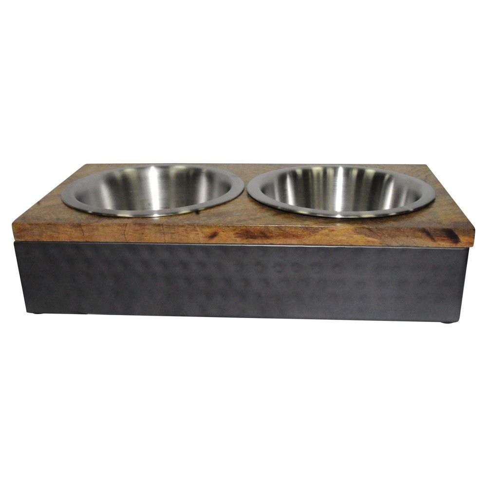Wood Metal Double Diner Cat And Dog Bowl Medium Boots