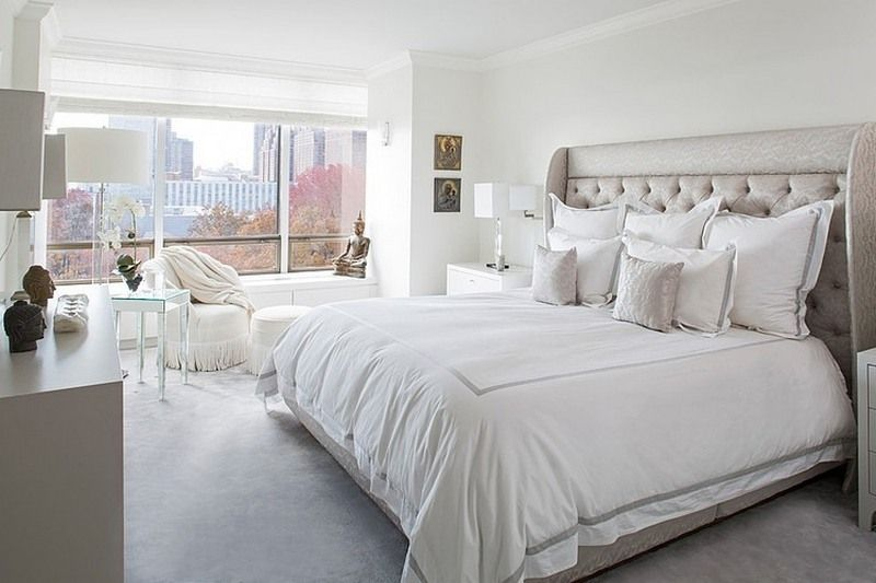 Interior Beautiful White Bedrooms beautiful white bedroom design with deluxe bed and lovely lounge chair by the window side decorated