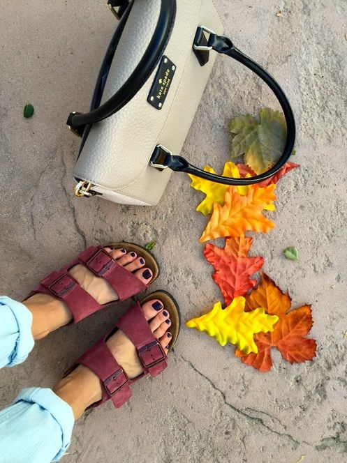 I love this combo: Kate spade purse && Birkenstocks && Fall leaves