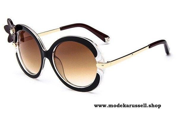 Luxus Sonnenbrille in Braun mit Schwarze Blume - online günstig kaufen