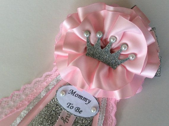 Princess Baby Shower Corsage Pink And Silver By Inspiredbyelena Pulseras Y Brazaletes