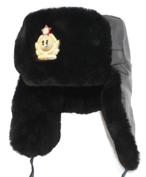 e1e2625cc3d95 Russian Navy Capatins black leather Ushanka hat in 2019