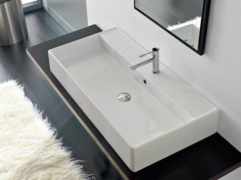 Scarabeo Waschbecken rechteckiges aufsatzwaschbecken aus keramik teorema 100r a by