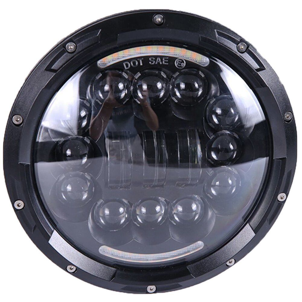 7 Inch 90w Black Motorcycle Projector Daymaker Drl 6000k Led Headlight For Harley Dot Sae E9 Led Headlights Headlights Harley Davidson