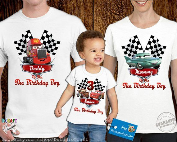 650057b37 Disney Car birthday Shirt for Family, Personalized birthday Car shirt, Birthday  T shirt for boys and