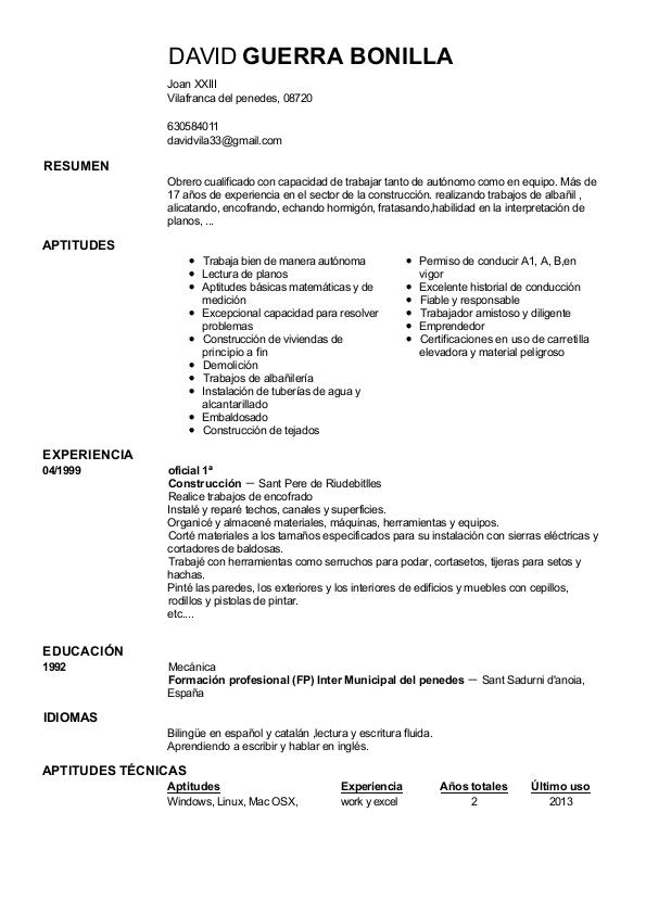 models curriculum vitae en catala