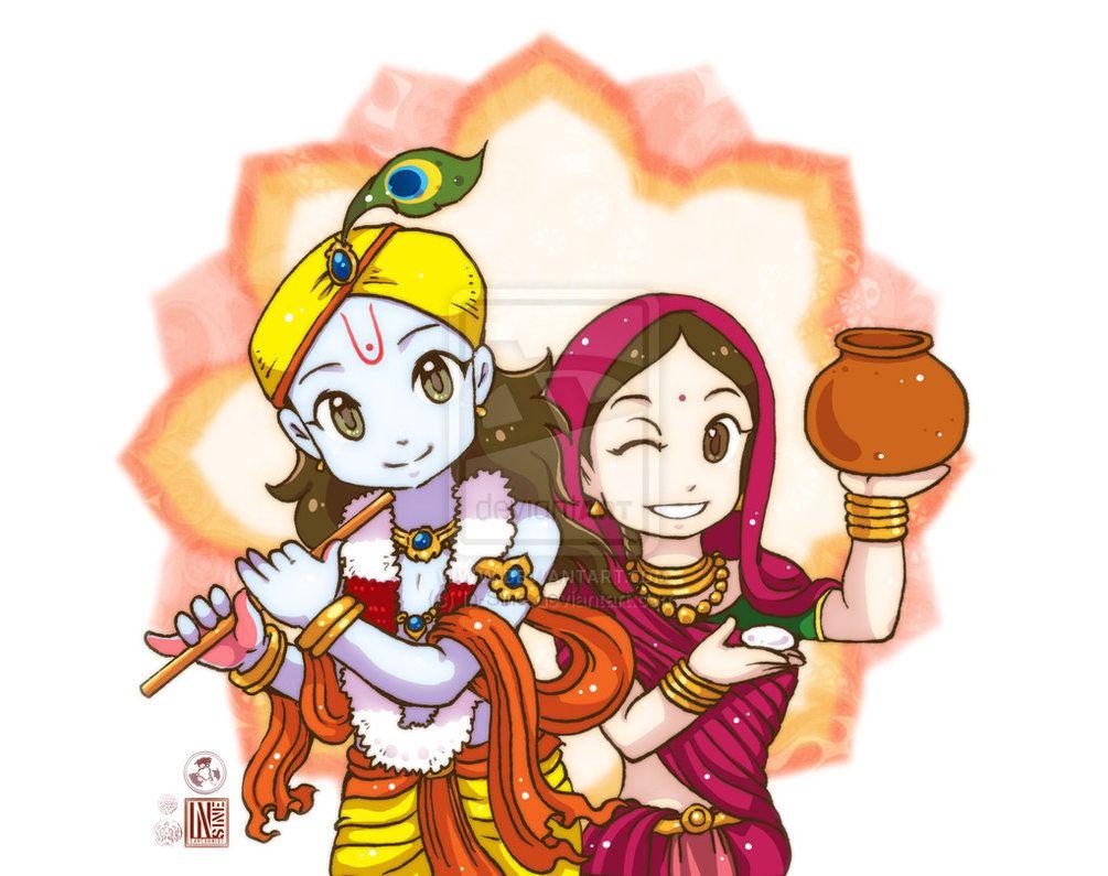 Sri Krishna And Radha By In Sine On Deviantart God Illustrations Cute Krishna Krishna Radha Painting