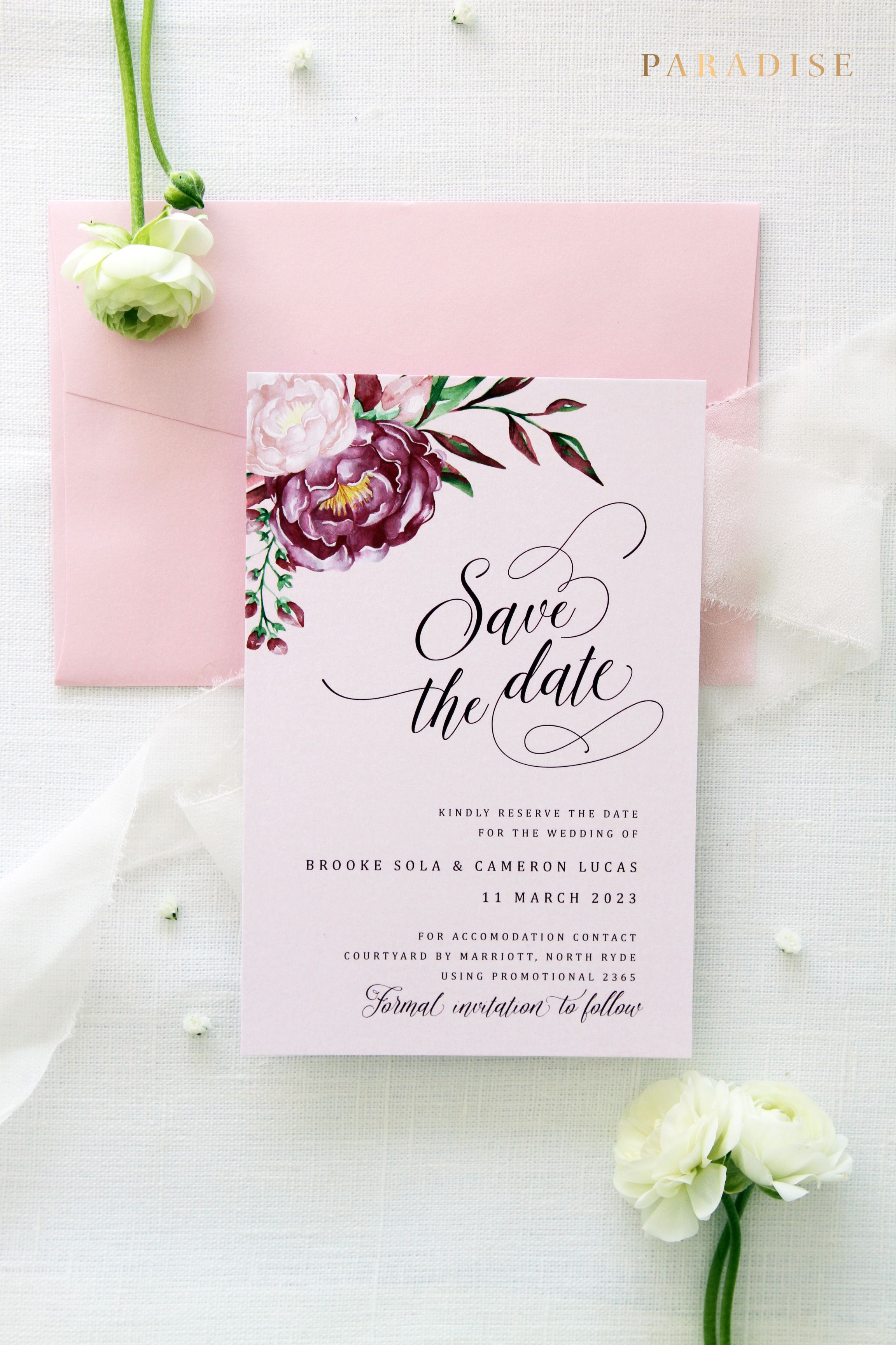 Marsala Save the Date cards Printable Save