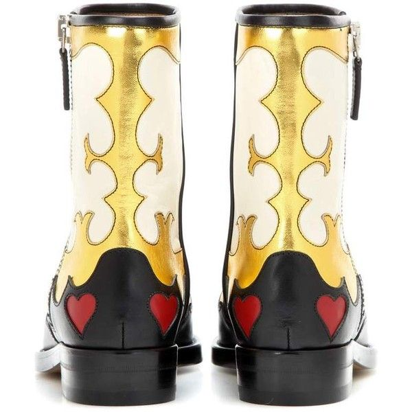 Gucci Leather Boots (66.780 RUB) ❤ liked on Polyvore featuring shoes, boots, real leather boots, leather boots, genuine leather shoes, multi colored shoes and real leather shoes