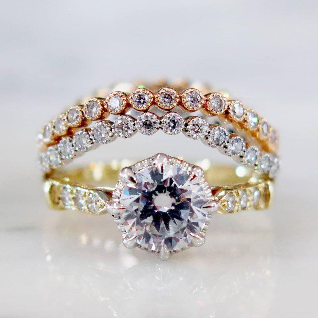 Zelda Engagement Ring With Renata Wedding Bands Dana Walden Jewelry Zelda Engagement Ring Engagement Rings Diamond Engagement Rings