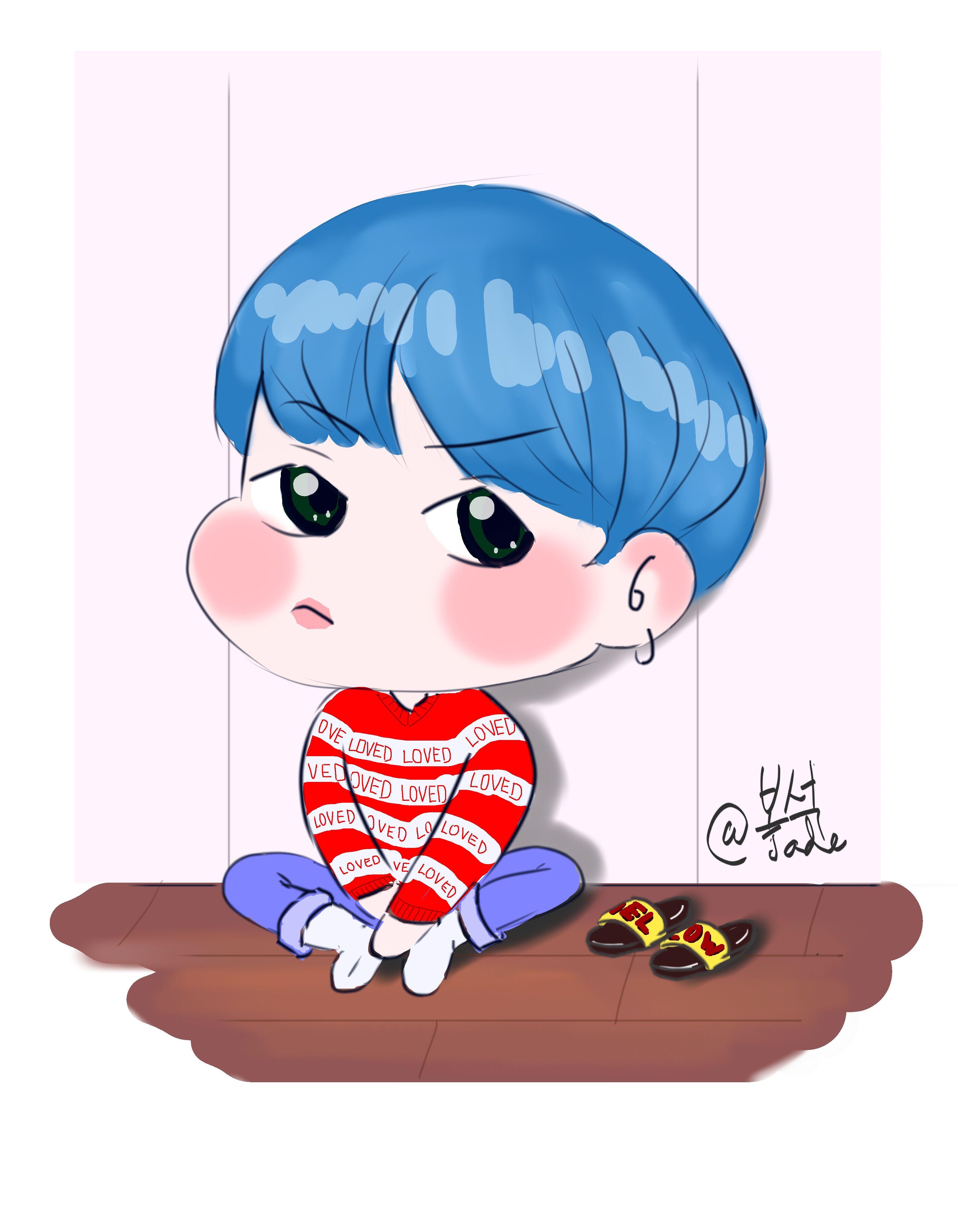suga bts blue hair love yourself version v Suga, Bts