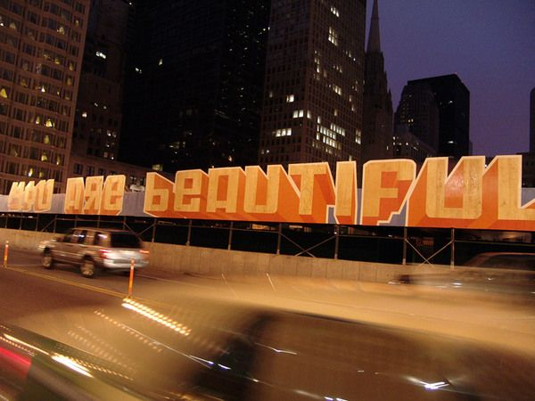 YOU ARE BEAUTIFUL  Mural created in 2006 with Michael Genovese, Matthew Hoffman & many fantastic volunteers for this State Street construction barrier. A feature in the You Are Beautiful project.
