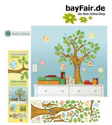 Lovely BordersUnlimited Room FX gro er Baum Wald V gel Nest Wandtattoos abl sbar Wald eBay